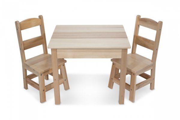 Melissa & Doug houten tafel en stoelen 3-delig