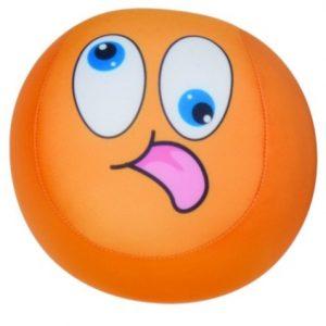 Eddy Toys bal met smiley pluche oranje 15 cm