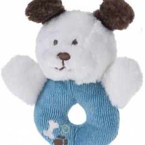 Tender Toys grijpring hondje pluche 12 cm blauw-wit